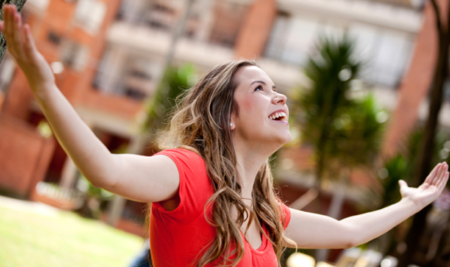 Can you be too resilient and optimistic lady looking up wearing red top